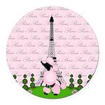 French Poodle Paris Round Car Magnet