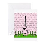 French Poodle Paris Greeting Cards