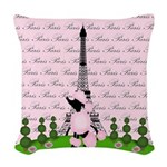 French Poodle Paris Woven Throw Pillow
