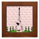 French Poodle Paris Framed Tile