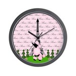 French Poodle Paris Wall Clock