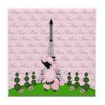 French Poodle Paris Tile Coaster