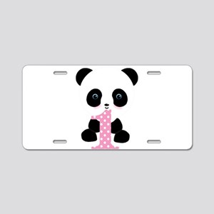 Panda Bear 1st Birthday Aluminum License Plate