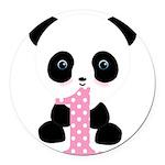 Panda Bear 1st Birthday Round Car Magnet