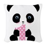 Panda Bear 1st Birthday Woven Throw Pillow