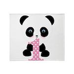 Panda Bear 1st Birthday Throw Blanket