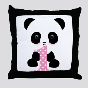 Panda Bear 1st Birthday Throw Pillow