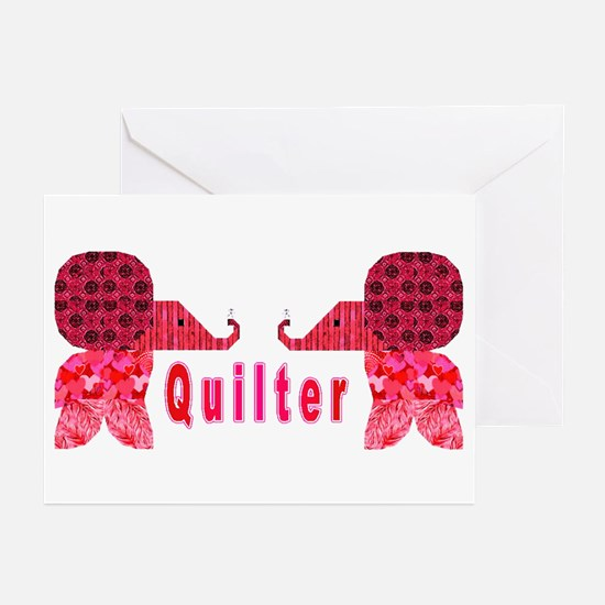 Quilter Pink Elephants t-shir Greeting Cards (Pack