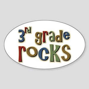 3rd Grade Rocks Third School Oval Sticker