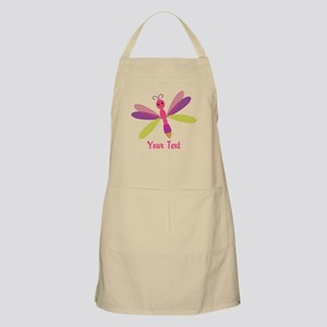 Cute Pink, Purple and Green Dragonfly; Girl Apron