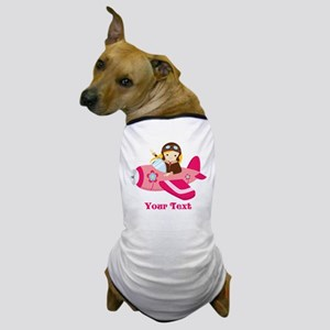 Pink Airplane, Girl Pilot with flowers Dog T-Shirt