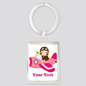 Pink Airplane, Girl Pilot with flowers Keychains