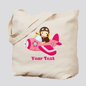Pink Airplane, Girl Pilot with flowers Tote Bag