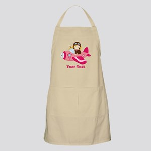 Pink Airplane, Girl Pilot with flowers Apron