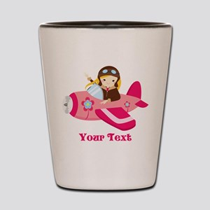 Pink Airplane, Girl Pilot with flowers Shot Glass
