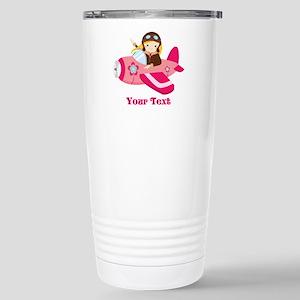Pink Airplane, Girl Pilot with flowers Travel Mug