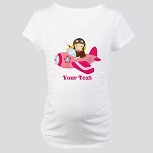 Pink Airplane, Girl Pilot with flowers Maternity T