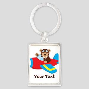 Cute Teddy Bear Pilot in Red, Blue Airplane Keycha