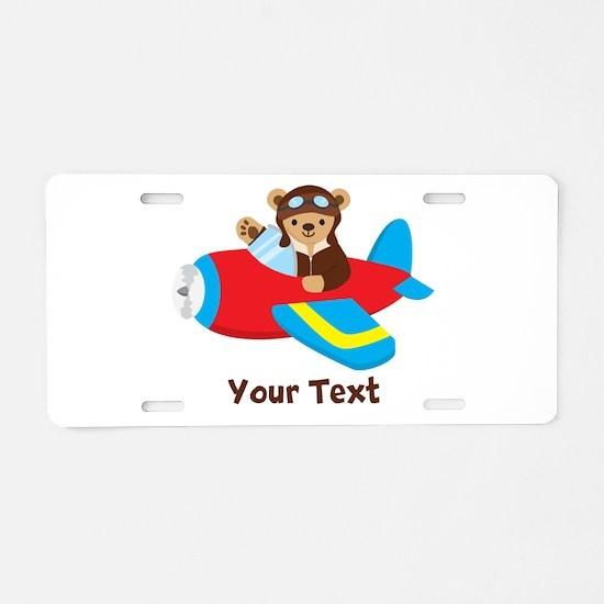 Cute Teddy Bear Pilot in Red, Blue Airplane Alumin