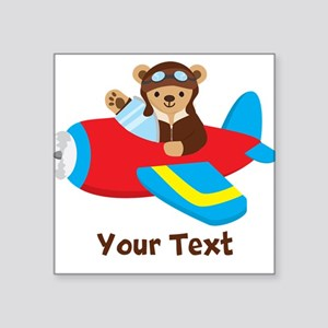 Cute Teddy Bear Pilot in Red, Blue Airplane Sticke