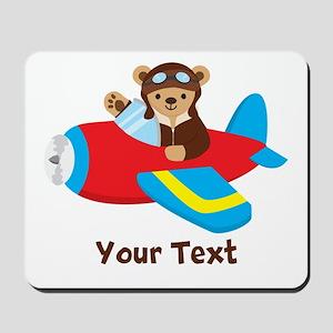 Cute Teddy Bear Pilot in Red, Blue Airplane Mousep