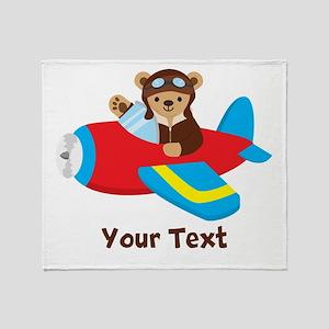 Cute Teddy Bear Pilot in Red, Blue Airplane Throw