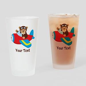 Cute Teddy Bear Pilot in Red, Blue Airplane Drinki