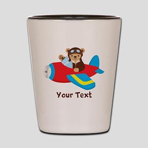 Cute Teddy Bear Pilot in Red, Blue Airplane Shot G