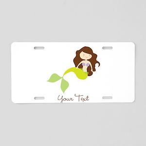 Cute Girl Mermaid, Green & Brown Aluminum License