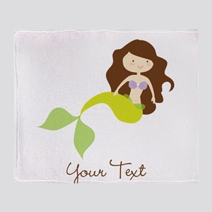 Cute Girl Mermaid, Green & Brown Throw Blanket