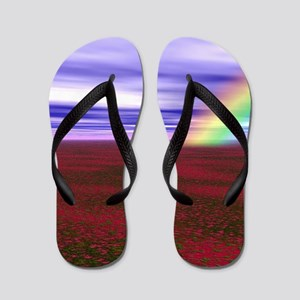 Beautiful Rainbow and Field of Red Flow Flip Flops