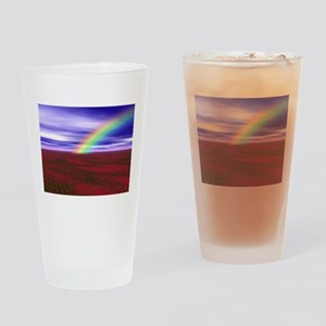 Beautiful Rainbow and Field of Red Drinking Glass