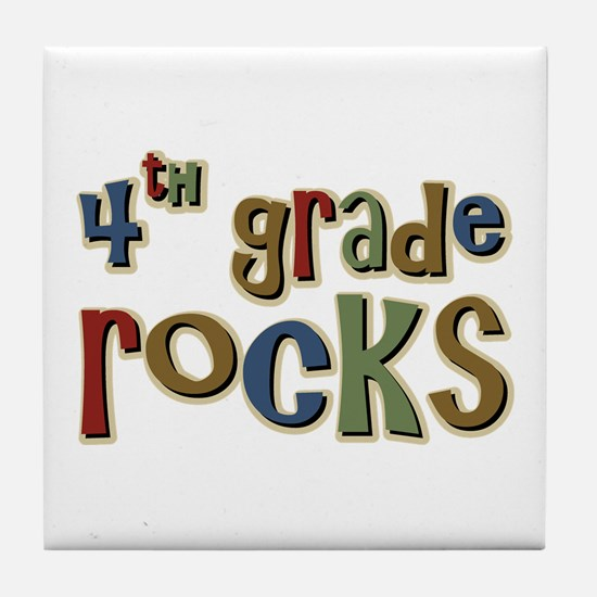 4th Grade Rocks Fourth School Tile Coaster