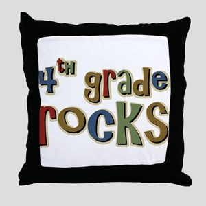 4th Grade Rocks Fourth School Throw Pillow