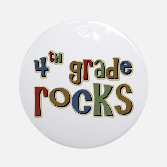 4th Grade Rocks Fourth School Ornament (Round)