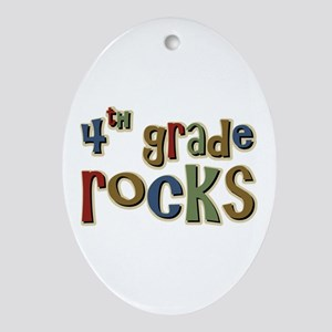 4th Grade Rocks Fourth School Oval Ornament