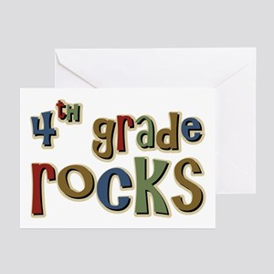 4th Grade Rocks Fourth School Greeting Cards (Pack
