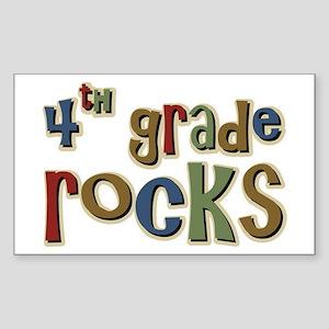 4th Grade Rocks Fourth School Sticker (Rectangular