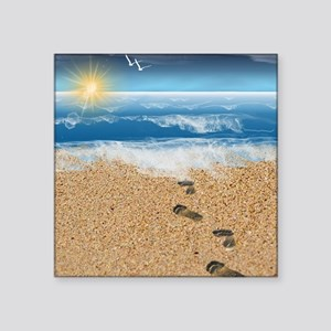 "Footprints in the Sand Square Sticker 3"" x 3"""