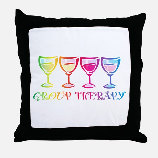 Wine Group Therapy 2 Throw Pillow