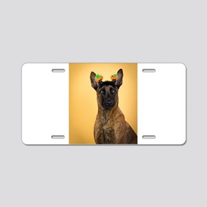 halloween dutch shepherd Aluminum License Plate