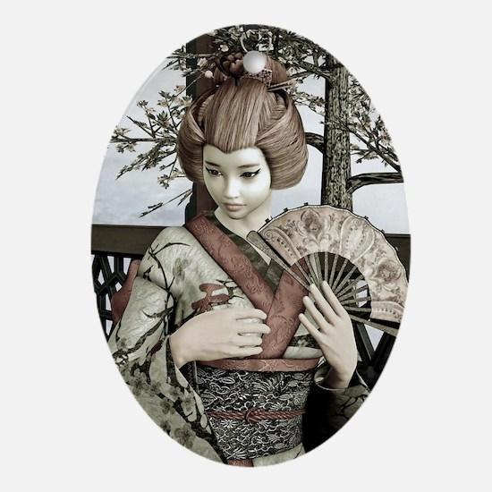 Vintage Geisha Ornament (Oval)