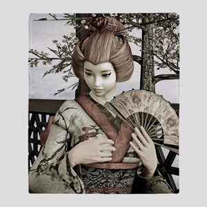 Vintage Geisha Throw Blanket