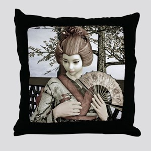 Vintage Geisha Throw Pillow