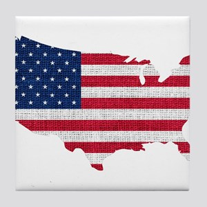 American Flag Map Tile Coaster