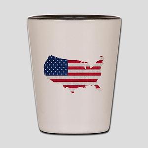American Flag Map Shot Glass