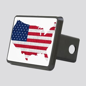 American Flag Map Rectangular Hitch Cover