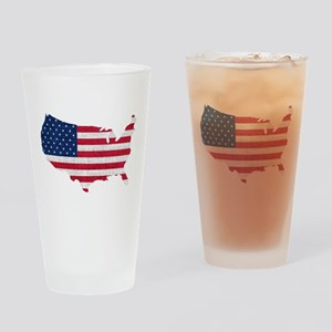 American Flag Map Drinking Glass