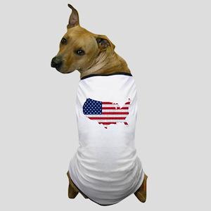 American Flag Map Dog T-Shirt