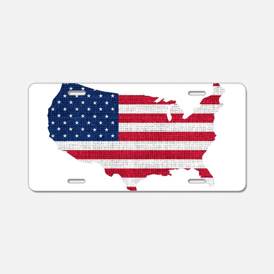 American Flag Map Aluminum License Plate